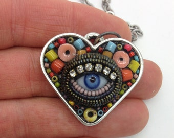 Small Eye Heart Pendant Necklace  by Betsy Youngquist (blue)