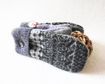 Wool Mittens PURPLE & BLACK Fair Isle Sweater Wool Mitts for Her Nordic Fleece Lined Mittens Eco Gift Under 50 for Women by WormeWoole