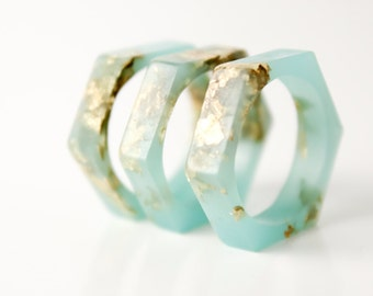 size 6   hexagonal eco resin ring   aqua green resin with gold leaf flakes