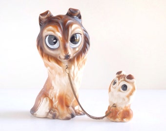 Vintage collie or sheltie dog ceramic figurines, big eyed mother dog with puppy on chain leash, made in Japan, china animals, 1960s, family