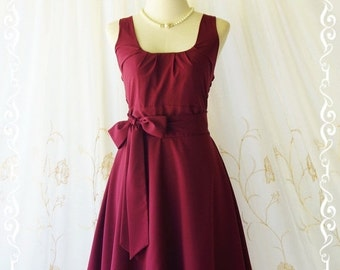 Christmas SALE My Lady - Maroon Sundress Vintage Design Maroon Dress Prom Party Dress Bridesmaid Dress Vintage Tea Dress Maroon Party Sundre