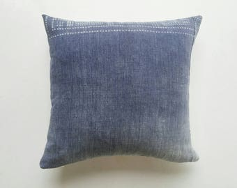 Faded Blue Chinese Batik Pillow Cover - Indigo Bohemian Pillows - Boho Throw Pillows
