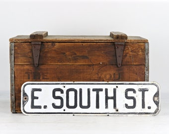 Street Sign Vintage Street Sign E. South St. Black And White Street Sign Old Street Sign Metal Street Sign Rustic Decor Industrial Decor