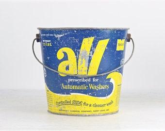 Vintage All Detergent Bucket, Vintage Bucket, Old Bucket, Vintage All Detergent Pail, Blue And Yellow All Bucket, Galvanized Bucketl, Pail