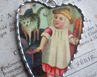 Fiona & The Fig-Victorian Era-Antique-Victorian Trade Card-Girl and Her Cat - Soldered Charm - Necklace - Pendant-Jewelry