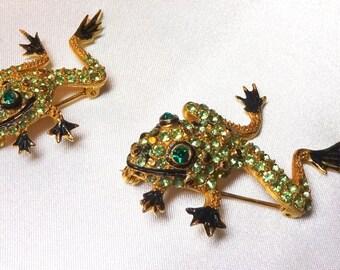 Darling green rhinestone frog duet pins, figural pin grren frogs