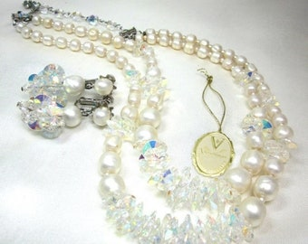 ON SALE Reduced VENDOME  Aurora Borealis Crystal and Faux Pearl Necklace and Earrings, Stunning Glitz and Glamor