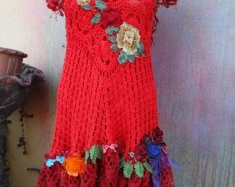20%OFF wildskin, crochet dress, red dress, bohemian dress, mini dress, shabby dress, tattered dress, mori, woodland dress, crochet, boho,