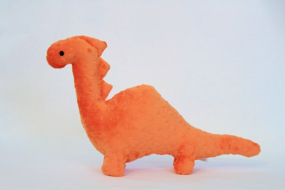 Stuffed Dinosaur Toy Orange Minky Plush Dinosaur Baby