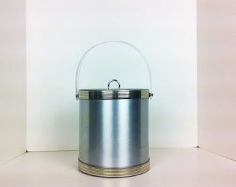 Vintage Georges Briard Silver Gold Ice Bucket