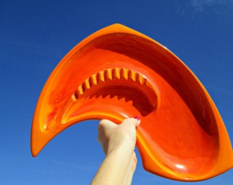 Vintage Googie Ashtray - Orange Royal Haeger Pottery Ash Tray USA 162 - Brilliant Orange Amoeba Boomerang Style Ashtray - Eames Era Tray