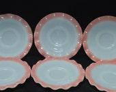 Ripple Pink Crinoline Saucers-Set of 6 by Hazel Atlas