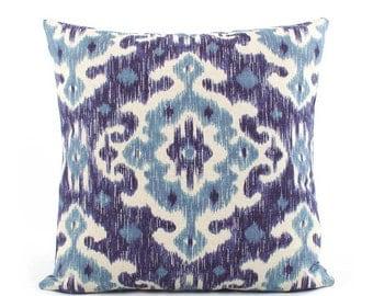 Richloom Blue Ikat Pillow Cover, 18x18, 20x20, 22x22, 24x24 Euro or Lumbar, Indigo Turquoise Blue, Throw Pillow, Accent Pillow, Inkwell