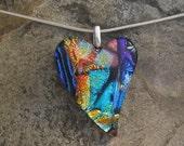 Rainbow Heart Pendant Fused Dichroic Glass Heart Necklace