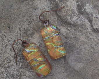 Earth Tones Copper Earrings Fused Dichroic Glass Orange Earrings