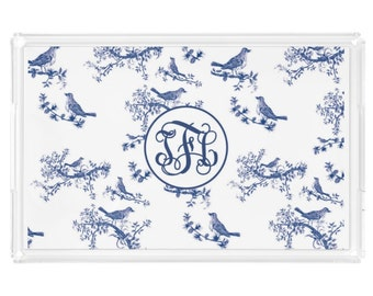 Personalized Chinoiserie Lucite Tray - Vanity Tray, Decorative Tray, Acrylic Jewelry Tray, Bird on Branch Decor