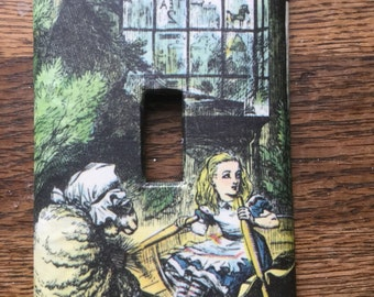 Alice in Wonderland Upcycled /Recycled Light Switch Plate