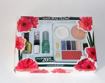 Natural Glow Makeup Kit Naturistics Vintage Powder Shadow Blush Cologne Lipstick Nail Polish