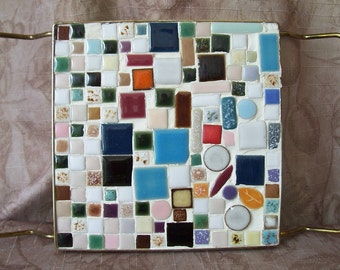 Vintage ceramic tile square trivet.  C2-406-.50