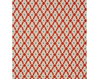 FABRIC - Braemore Bismark Scarlet Ikat Fabric - 9 Yards Available