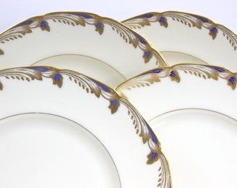 Lenox Dinner Plates - SET of 4, Lenox Fine China Plates, Art Deco Style Plates, Cobalt Blue & Gold Scolls, Essex Cobalt Blue, c.1930s