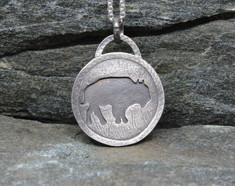 Buffalo Pendant on Chain, Sterling Silver Necklace, Bison Necklace, Made in NH, Totem, Power Talisman, Nature Jewelry, Buffalo Medicine