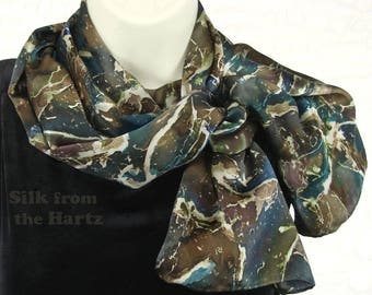 Earth Tone Marble Hand Dyed Silk Scarf