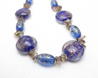Royal Blue Lampwork Necklace, Blue Gypsy Glass, Artisan Glass Necklace, Blue Necklace