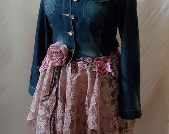 Boho Upcycled Denim Jacket Hippy Stevie Nicks Fairy Couture Lagenlook Bohemian  OOAK Wearable Art
