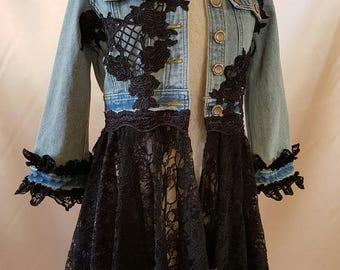 Boho Upcycled Denim Jacket size 8/10 Hippy Stevie Nicks Fairy Couture Lagenlook Bohemian  OOAK Wearable Art