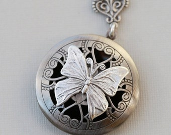 ON SALE Scent Locket,Silver Locket,Photo Locket, Butterfly Locket, Silver Bridesmaid Necklace,Wedding Necklace