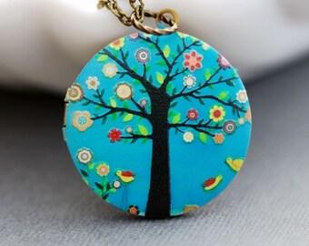 Personalized Necklace ,Personalized Locket,Brass Locket,Tree of Life Locket,Wedding Necklace,Red Poppy Flower