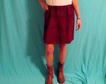 Leather Mini Skirt, Maroon Suede Game Day Tailgate  A&M, Texas State, Arizona State, Mississippi State