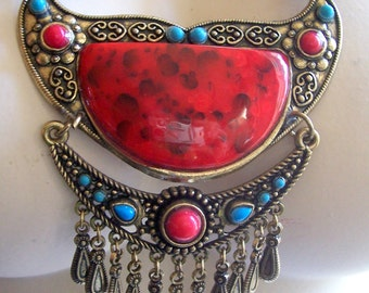 Vintage Tribal Ethnic Faux Coral+ Turquoise with Dangles Runway Necklace...WoW**