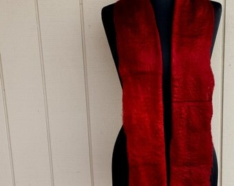 Handfelted deep red hand dyed silk and merino wool Scarf 'Loves Divine'