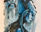 Diva Scifi blue alien lady inspired watercolor Art Print Carla Wyzgala carlations