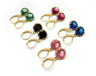 Rhinestone Dangle Gold French Clip Earrings - 5 Colors