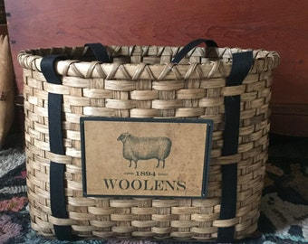Rug Hooking Tote Basket Handwoven, Re-usable Tote, Storage Basket, Wool, Primitive Basket, Cross Stitch Basket, Crochet Basket, Handmade