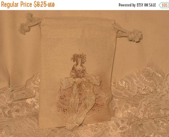 Sale Marie Antoinette Muslin Wedding Shower Party Favor Gift Pouches Adorned with Lace
