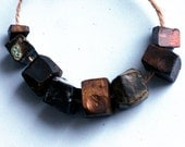 Ways to die in space -- 8 dark gold, bronze and mint green faceted ceramic art beads