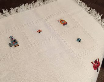 Cross Stitch Robot Baby Afghan