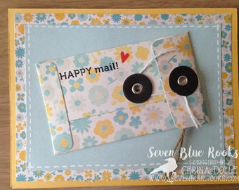 Happy Mail Card -|- greetings, friendship, hug, handmade, pastel, bright, happy