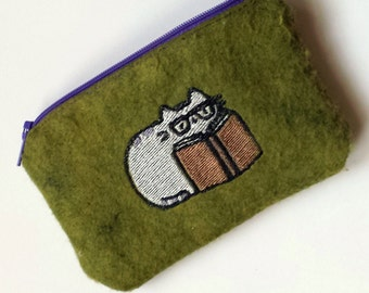 Cozy Reading Embroidered Zippered Pouch