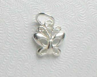 Nail Dangle or Charm Sterling Silver Butterfly About 7mm