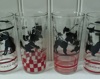 4 Dog Glasses Tumblers. Hazel Atlas. Vintage 1950s. Scottie Scottish Terrier, Cocker Spaniel, Doberman. Red & Black. Cottage Kitchen Decor.