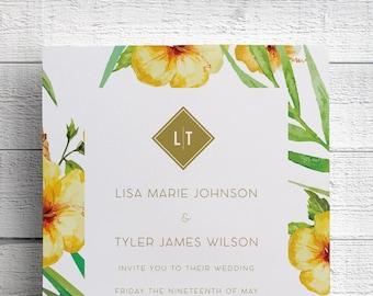 Tropical Wedding Invitation, Yellow Hibiscus, Printed Wedding Invitation, Beach Wedding Invitation, Hawaii Wedding, Maui Wedding