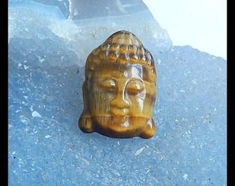 New,Carved Tiger's Eye Buddha Head Gemstone Cabochon,24x17x7mm,5.4g