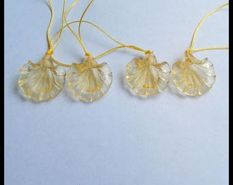 Sale 2 Pair Carved Yellow Onyx Flower  Earring Beads,20x18x3mm,19x17x3mm,6g