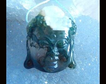 Carved Moss Agate Buddha Head Pendant Bead,30x24x12mm,13.49g