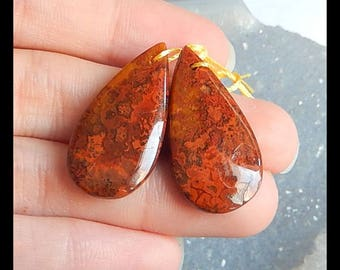 New,Warring States Red Agate Gemstone Earring Bead,29x15x5mm,5.8g